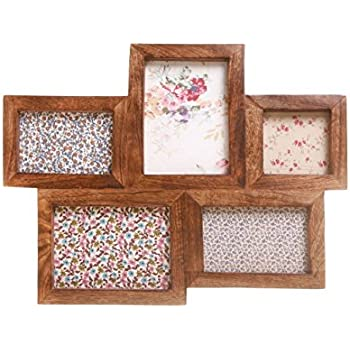 5 picture large multi wooden photo frame retro dark wood - Multi Photo Frame