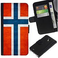 EuroCase - Samsung Galaxy S4 Mini i9190 MINI VERSION! - Norway Grunge Flag - Cuero PU Delgado caso cubierta Shell Armor Funda Case Cover