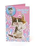 Hanson weiß 342521–0–2,5cm Fun Katze Kinder Mädchen mit Badge Geburtstagskarte