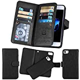 iPhone 7 Case,iPhone 7 Detachable Wallet Case,Soundmae Multi-function 2-in-1 Magnetic Separable Removable PU Leather Wallet Case Flip Cover With Credit Card Holder for iPhone 7[Black]