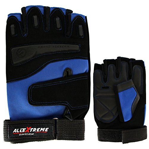 AllExtreme Gym and Bike Gloves- Multipurpose Gloves for Fitness Gloves Sports ight Weightlifting Exercise Half Finger Sport Cycling Fitness Gloves--BLUE -( L)  available at amazon for Rs.475