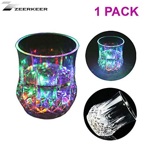 Zeerkeer Farbwechsler Trinkglas Gläser mit LED 5 LED-Leuchten Acryl Plexiglas Nicht zerbrechlich Wasserdichte Marble Textur PC-Material (1)
