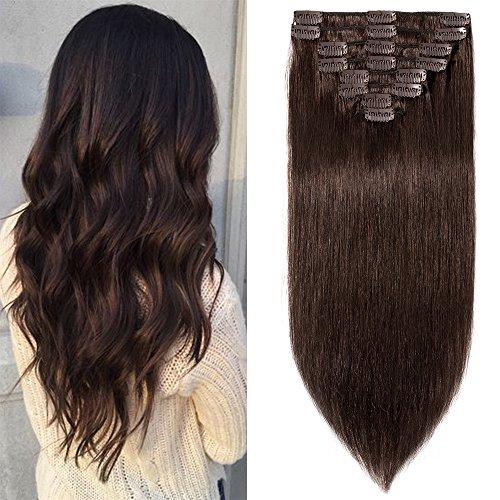 Clip in Extensions Echthaar günstig Haarverlängerung Remy Echthaar 8 Tressen 18 Clips Glatt 50cm-105g(#2 Dunkelbraun)