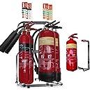 Medium/Große Büro Fire Sicherheit Pack, 2x Feuerlöscher Set mit doppelter Ständer und ID Schilder + kleine Küche Feuerlöscher. Für alle Arten von Fire. Ideal für jeden Arbeitsplatz. BS Gütesiegel