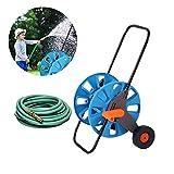 Lamptti Gartenschlauchtrolle, 2 Räder, tragbar, für den Garten, mit Rollen, Handdrücken, Gartenhof, Schlauchtrommel, Tragbare Wäschehalterung