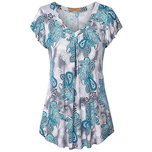 OSYARD Damen Plus Size Print Plissee Kurzarm V-Neck Top Tunika Bluse Shirt(EU 44/L, Himmel Blau)
