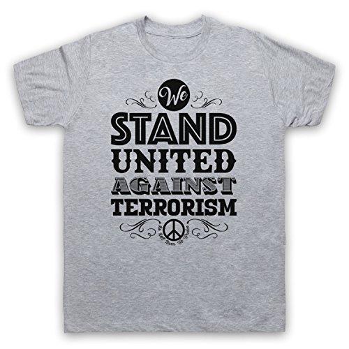 We Stand United Against Terror We Will Never Be Broken Herren T-Shirt Grau