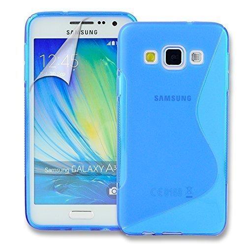 Connect Zone Samsung Galaxy A3 (A300F) S Ligne Silicone Gel Étui + Protection écran Protège Et Chiffon De Polissage - Bleu S ligne Gel, .