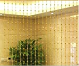 Pindia 7Ft Strings Bead Curtain Golden Fancy Sparkling Door Window String Beads Thread Sheer Shear Rod Room Hanging-Golden-7 X 4 Ft