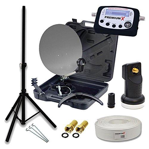 PremiumX HD Camping SAT Anlage im Transport-Koffer Schüssel mit Digital Single LNB 4K + 10m Koax-TV-Kabel mit F-Stecker + Dreibein Stativ Tripod Ständer inkl. 3x Heringe + LCD SatFinder mit Anschlusskabel