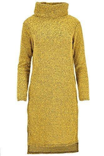 Damen Hoch Niedrig Pullover Oberteil Damen Gerippt Gestrickt Midi Rollkragen Seite Schlitz Kleid Mustard