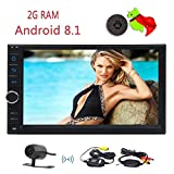 Doppel-DIN-Android 8.1 Auto-Multimedia-Player-Radio-Empf?nger GPS-Navigation mit 7' kapazitiv Multi-Screen-Bildschirm Spiegel WiFi 3G 4G OBD2 1080P USB TF SWC AM FM-RDS-EQ mit kostenloser Backup-K
