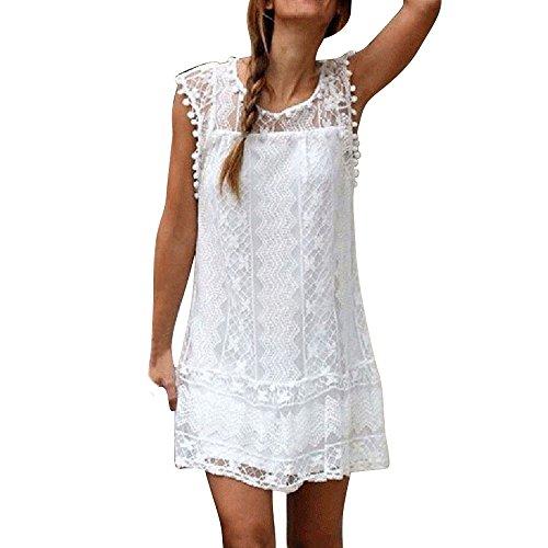 FNKDOR Robe Femmes, Femmes Été Décontractée Dentelle sans Manches Plage Robe Courte Gland Mini Robe (Blanc, XL)