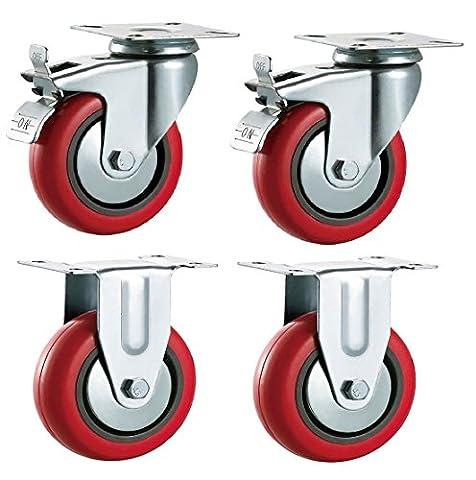 100mm de polyuréthane pivotante à frein et roulettes fixe (Rouge PU)?Heavy Duty?Meubles, Appliance et roues d'équipement en Bulldog Roulettes?Max 400kg par lot