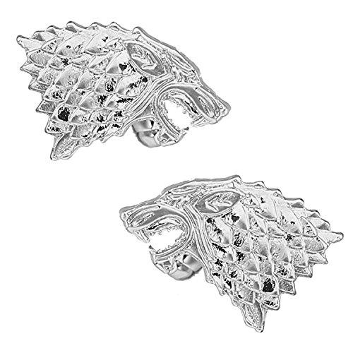 SOLZ Silver Direwolf Cufflinks Glossy Silver