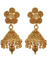 JFL - Traditional Ethnic One Gram Gold Plated Designer Earring For Women & Girls