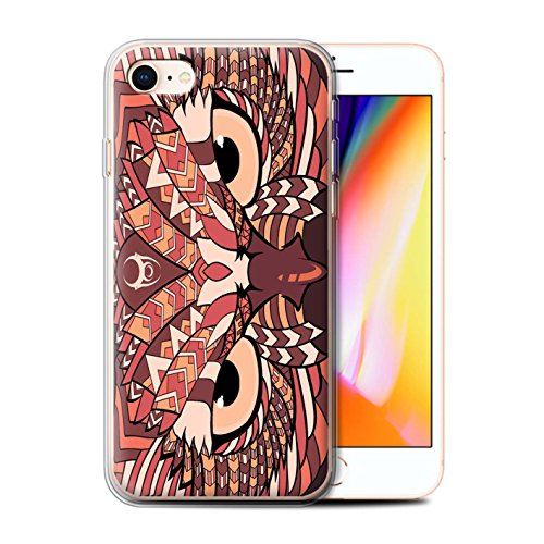 Coque Gel TPU de STUFF4 / Coque pour Apple iPhone 7 Plus / Loup-Bleu Design / Motif Animaux Aztec Collection Hibou-Rouge