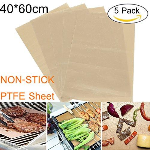 Skymore foglio di teflon ptfe, foglio di teflon per transfer di stampa a caldo, foglio di carta resistente al calore di 40 * 60 cm, 100% antiaderente protegge ferro e area di lavoro,5 pack