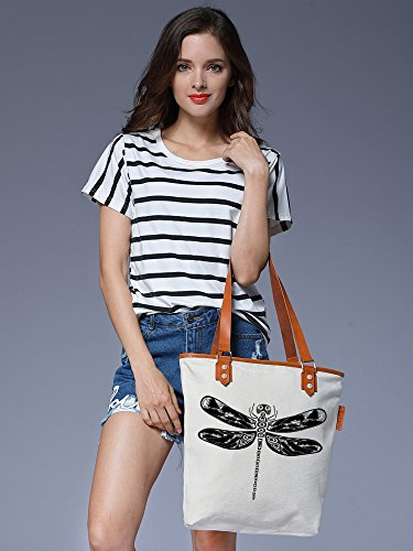 S.CHU Women's Butterfly Animal Canvas Leather Tote Handbag Ladies Shoulder Bag Beige