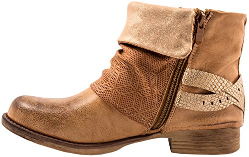 Elara Donna Biker Boots | Metallic Prints Fibbie | Rivetti stivaletti in pelle sintetica | foderato Camel London