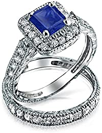 Bling Jewelry .925 Silver Simulated Sapphire Princess Cut CZ Engagement Ring Set