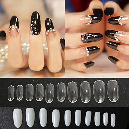Runde Pack (Blue Vessel 500 Stück /pack künstliche Fingernägel Nail Art runden Ende Oval Falsche Nägel Tipps Maniküre (Natürliche))