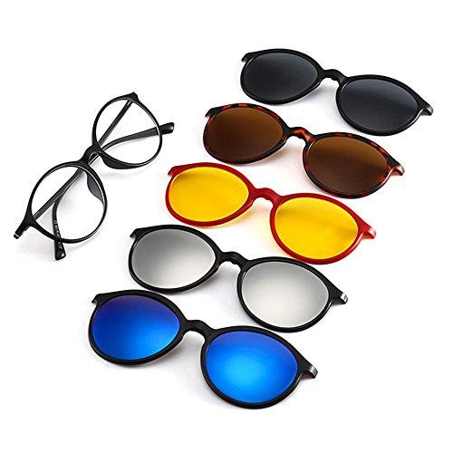 Memoryee Unisex Retro 5Pcs magnetische abnehmbare Clip-on polarisierte Sonnenbrille TR Frames Ultra Light Set 2223