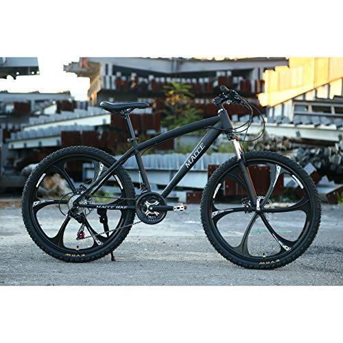Unisex Hardtail Mountain Bike 26inch MTB Suspension Bike 21/24/27 velocità Bicicletta con Telaio in Acciaio ad Alto tenore di Carbonio Freno a Doppio Disco per Studenti/Città pendolari,Black,27Speed