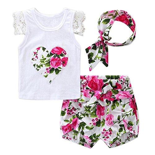 Bekleidung Longra Neugeborenes Baby M/ädchen Bl/ütenspitze Kurzarm T-Shirt Tops Stirnband Outfits Set Sommer Babykleidung Shorts Hose 0-24 Monate