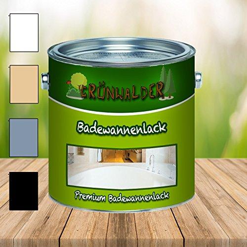 Grünwalder Badewannenlack Badezimmerfarbe Badewannenbeschichtung 2K Speziallack SET Decklack + Grundierung Weiss Grau Beige Schwarz (2,5 kg, Weiß)
