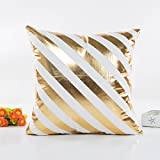 Pillow Cases,Wanshop Gold Foil Bronzing Stripes Printed Waist Throw Cushion Cover Sofa Home Decoration Pillow Case (F)