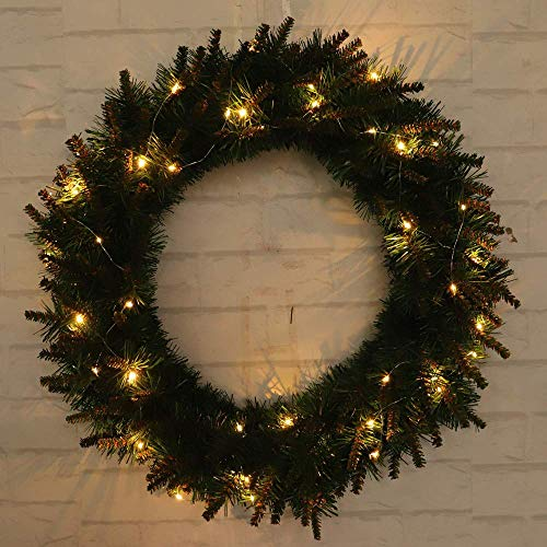 Transer- Pine Fall Front Door Wreath, 12/16/20 Inches Decorative Leaves & Flower, Merry Christmas Party Door Wall Garland Decoration (Green with LED Lingh, 16 Inches)
