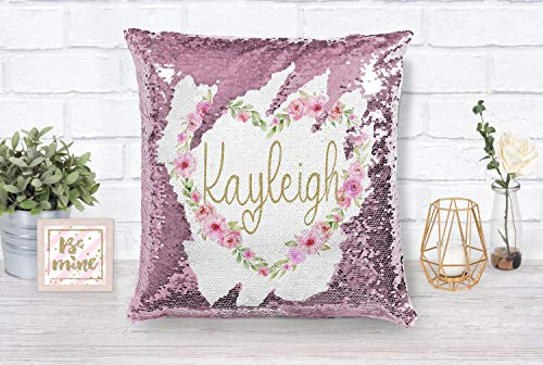 Floradesweet - federa per cuscino di san valentino, personalizzabile, a forma di cuore, con lustrini, 40,6 x 40,6 cm