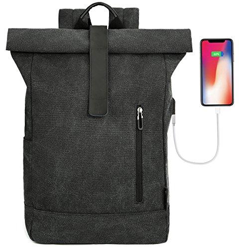 "Tocode Laptop Roll Top Rucksack Canvas, Fit 16,5"" Laptop Große Damen & Herren Reise Daypack mit USB-Ladegerät Port, Casual Vi..."