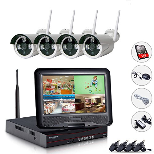 EDSSZ® 4 Kanäle 720P Wireless IP Kameras System Easy Remote Access IR Tag / Nachtsicht Wasserdichte Kamera, 10,1 Zoll LCD Bildschirm WIFI NVR mit 1TB Festplatte EDS-WIFILCD04-1TB-720P