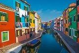 Wandbild auf Alu-Dibond. Insel Burano bei Venedig mit Bunten Häusern. Galerie Fine Art Fotografie Print auf Aludibond. Kunst Wanddeko Wand Foto Bild