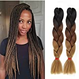 6pc/Lot 24inch Synthetic Ombre Kanekalon Jumbo Braiding Hair Extension 100g High Temperature Synthetic African Box Braids Crochet Twist Braided Hair Extension (Tbrown)
