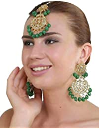 JARAKN JEWELLERS Green Brass Kundan Beaded Earrings With Maang Tikka For Women