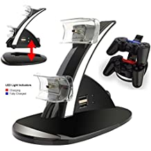 LeSB Blau LED Dual Ladestation Dockingstation Mit USB Kabel Für PS3/Sony Playstation 3 Game Controller