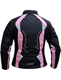 Arena negra y rosa de traje de neopreno para mujer para moto chaqueta de