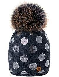 14c8a3025f5f14 4sold Rentier Damen Wintermütze Strickmütze mit großen Pom Pom Cap Ski  Snowboard Bobble Plain Farbe Fleece