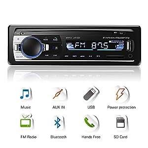 Autoradio Bluetooth, 4x60W Auto Audio Stereo FM Radio, Lettore mp3 USB/SD/AUX HandsFree con Telecomando