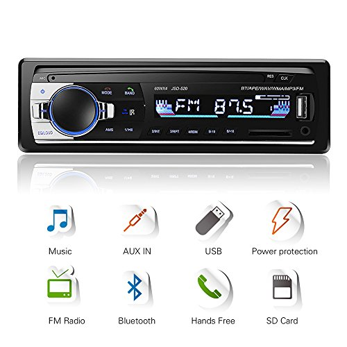 Autoradio Bluetooth, 4x60W Auto Audio Stereo FM Radio, Lettore mp3 USB/SD/AUX HandsFree con Telecomando