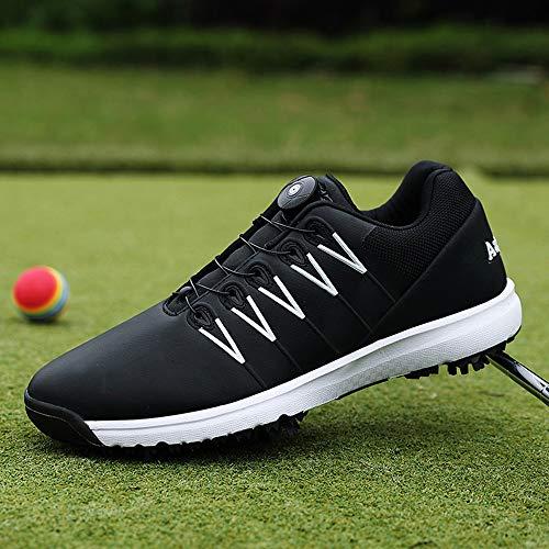 Scarpe da Golf Professionali da Uomo, Sneaker con Borchie protettive in Pelle per Esterno, Scarpe da Allenamento Leggere da Trekking Traspiranti da Golf, Lacci con Fibbia Rotante