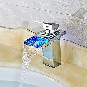 Grifo LED 3 Cambio de color RGB Square grifo de lavabo monomando Niederdruck grifos de lavabo cascada grifo para baño…