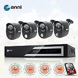Anni CCTV caméra de surveillance 4CH 1080N Kit AHD DVR avec 4 caméras 1080p 2.0MP Outdoor Kit de Vidéosurveillance, alarme de capteur de gaz intégré, détection de corps PIR, Siren Sounds, vision nocturne, with 1TB HDD