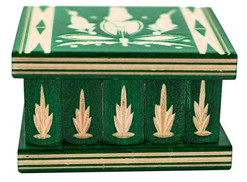 Osteuropäischer Geheimniskasten/Schmuckschatulle aus Holz - Handgefertigt in traditionellem Stil - Geheimniskasten mit Schlüssel - Einzigartige Schnitzarbeit - Klein, grün, 7.7 x 6.4 x 4.8 cm