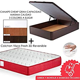 MICAMAMELLAMA-Pack-Canap-de-Madera-Cheap-Colchn-Viscoelstico-VISCO-Confort-Fresh-3D-Reversible-Montaje-Incluido-Wengue-150x190