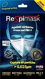 Respimask Lot de 10 masques antiviraux moyens pour le visage, contre les virus, la poussière, le pollen, les spores de moisissures, la grippe, le rhume, les bactéries et le smog