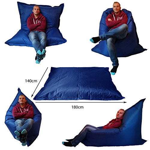 Extra Large Giant Beanbag Blue - Indoor & Outdoor Bean Bag - MASSIVE 180x140cm - great for Garden by Outside & In